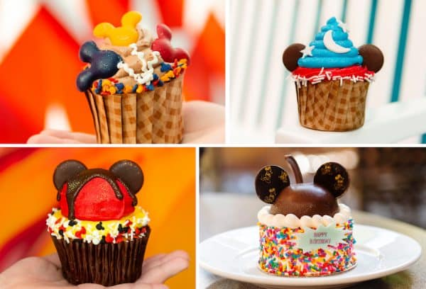 Picture of beautiful decorated cupcakes with Mickey ears.