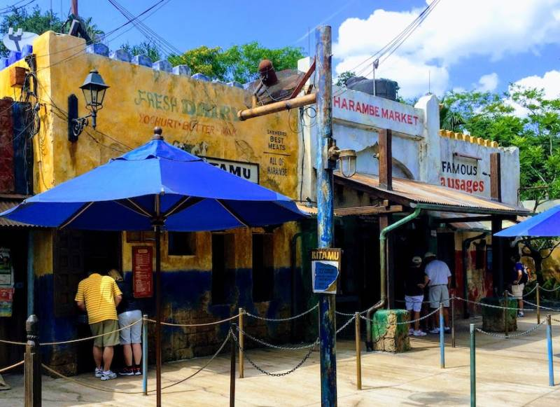 A photo of restaurants in Disney's Animal Kingdom that is designed to look like an African marketplace.